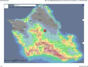 Light Pollution Oahu map